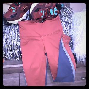 Victoria's Secret sport leggings burn orange/grey